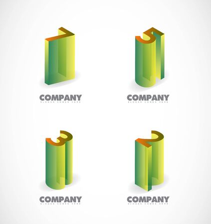 numbers icon: company logo icon element template numbers 3d set green brown Illustration