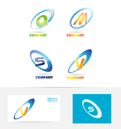 s and m: company logo icon element template 3d letter alphabet set colors a m v s