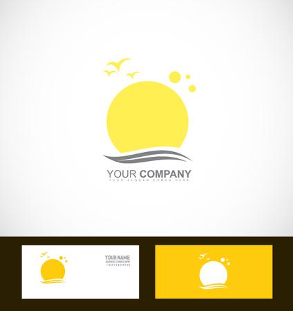 business travel: company logo icon element template sun birds swoosh tourism