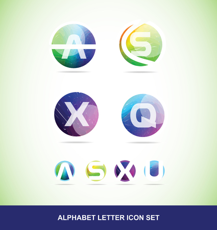u s: icon element template colors alphabet letter set a s x q u sphere