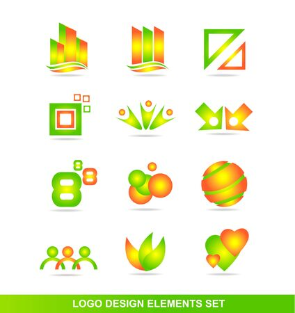 real people: icon element template set orange green real estate circle sphere abstract people number eight heart connection concept Illustration