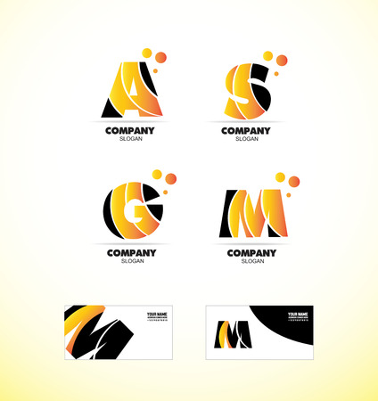 s and m: company logo icon element template alphabet set letter big bold a s m g orange yellow black bubble business card media it games