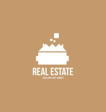 villa: icon element template modern flat brown, white background real estate house villa castle  residential property