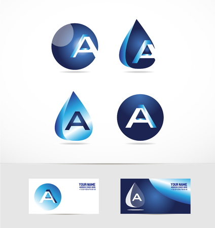 waterdrop: icon element template alphabet letter a blue waterdrop sphere