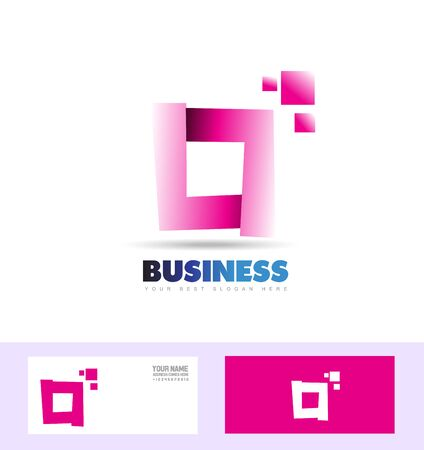 square shape: company logo icon element template abstract sign square pink purple corporate business