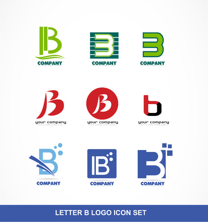 company logo icon element template alphabet letter b set