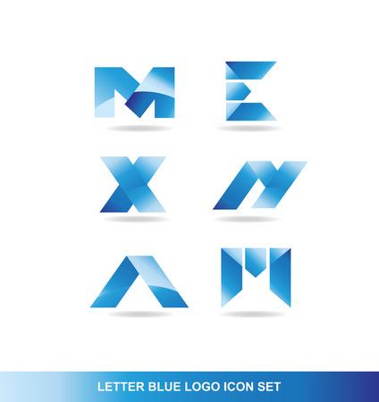 x games: company logo icon element template alphabet letter set m e x n a m blue gradient