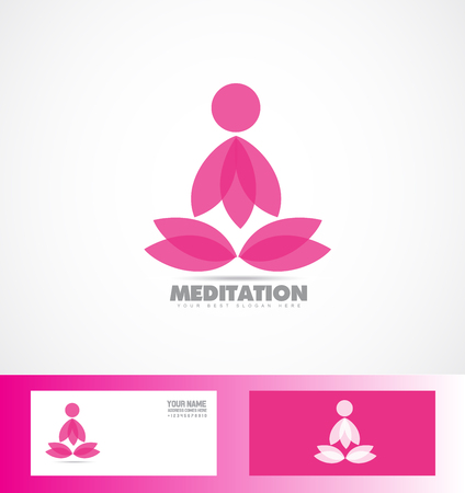 asana: icon element template yoga meditation asana pink lotus Illustration