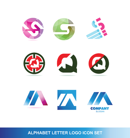 to lie: company logo icon element template alphabet letter set s q a abstract purple pink circle sphere lie blue red green