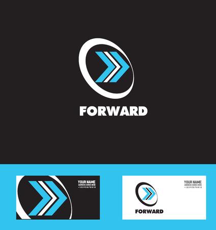 forward arrow: company logo icon element template moving forward arrow concept blue white Illustration
