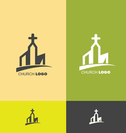 company logo icon element template church building cross christian christianity evanghelical