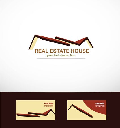 company logo icon element template house roof real estate set