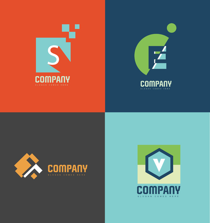 letter alphabet: company logo icon element template pastel color letter alphabet s e t v Illustration