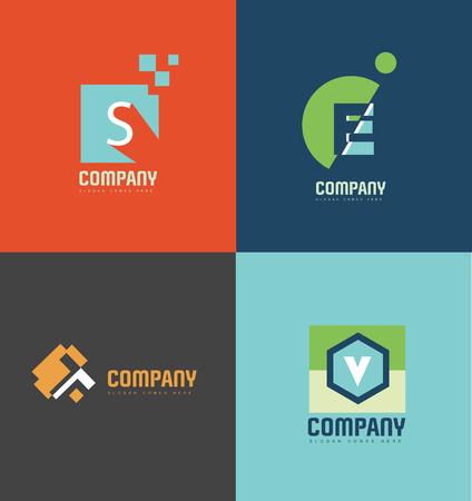 lettre s: logo élément icône modèle pastel lettre couleur alphabet SETV