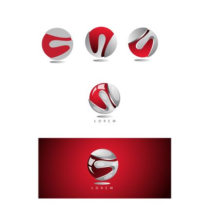 red sphere: icon element template 3d red sphere corporate business Illustration