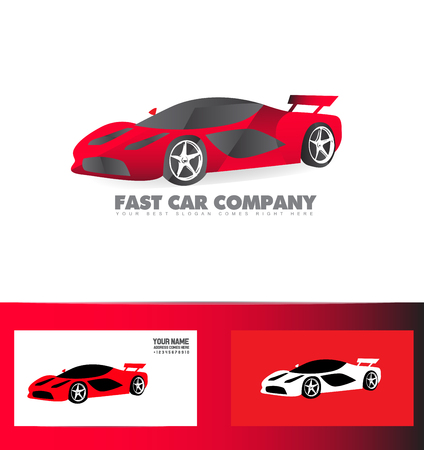 red sports car: company logo icon element template red sports car