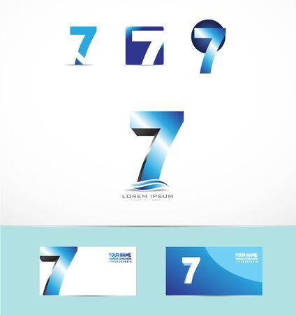 number seven: icon element template blue number seven set
