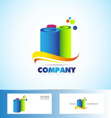 cilinder: company logo icon element template abstract cylinder tube orange green blue purple