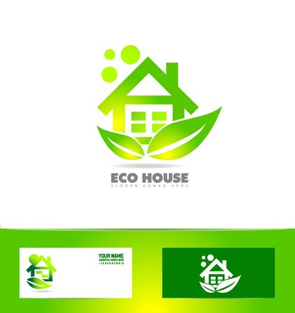 eco home: icon element template eco home house real estate green leaf