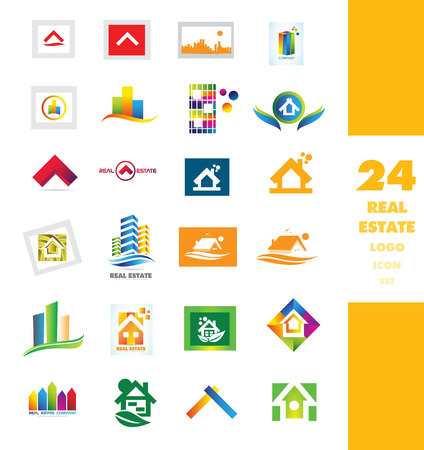 house logo: company logo icon element template set realty house real estate