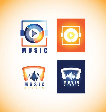 sound studio: company logo icon element template music player play button app sound studio recording headphones