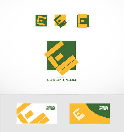 letter blocks: company logo icon element template letter e blocks abstract green yellow