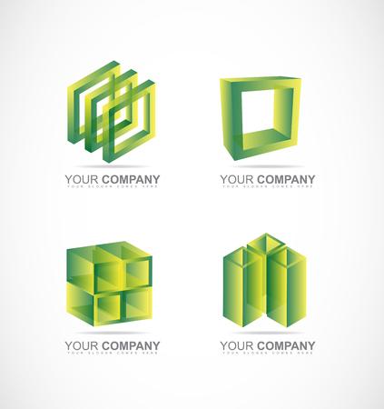 société logo icône élément modèle boîte transparente cube 3d boîte pile ensemble