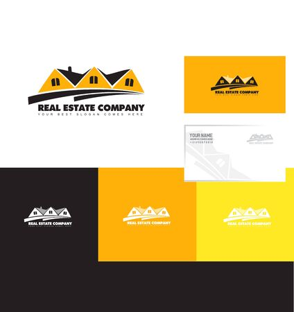 chalet: company logo icon element template real estate orange yellow villa house property chalet residential realtor realty Illustration