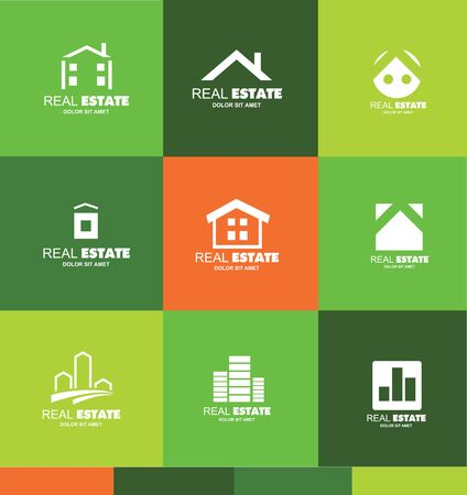 residential home: icon element template real estate house home roof abstract flat green orange white contour line property residential realtor realty property