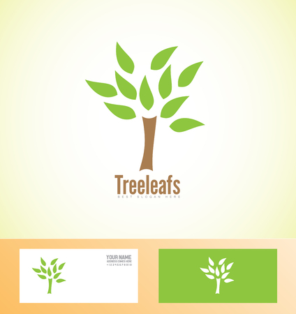 leafs: icon element template eco tree leafs green agriculture