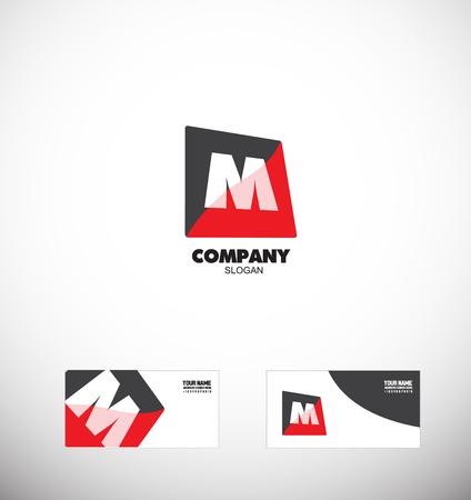 Logo élément icône modèle de lettre de l'alphabet M rouge médias carré noir business corporate Banque d'images - 53331544