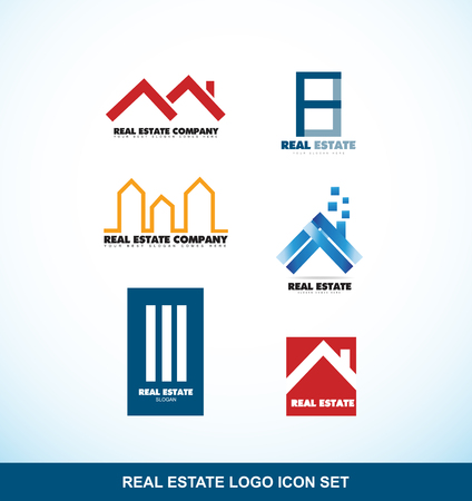 roof line: company logo icon element template real estate building set house roof skyscraper line stylized home