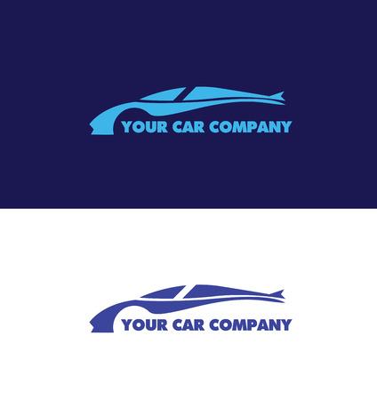 fast car: company logo icon element template car contour shape fast racing blue automobile service auto Illustration