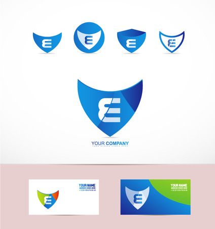 e alphabet: company logo icon element template letter e alphabet antivirus shield set blue