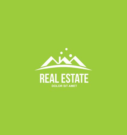 flat roof: icon element template modern flat green white background real estate roof house   residential property Illustration
