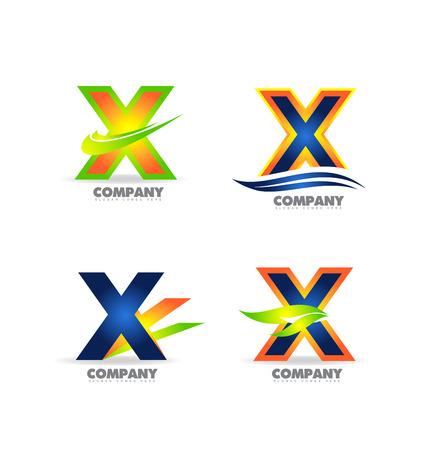 x sport: company logo icon element template letter x colors set extreme sport Illustration