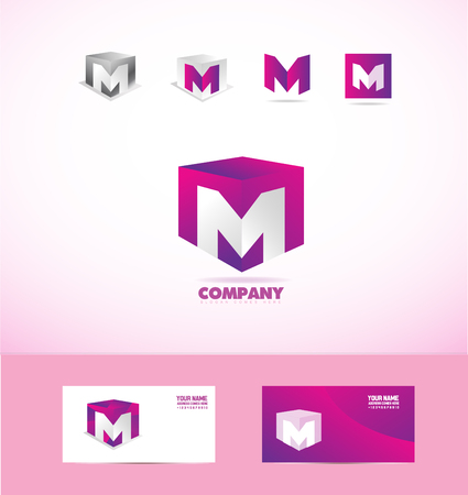 company logo icon element template letter M cube 3d purple pink set