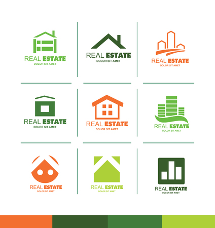 villa: icon element template real estate house home roof abstract flat green orange yellow  contour line property residential  realty property colors villa
