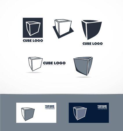 logo icon élément modèle cube bleu 3d ensemble