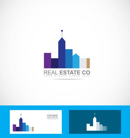 realty: icon element template real estate blue purple realty city scape Illustration