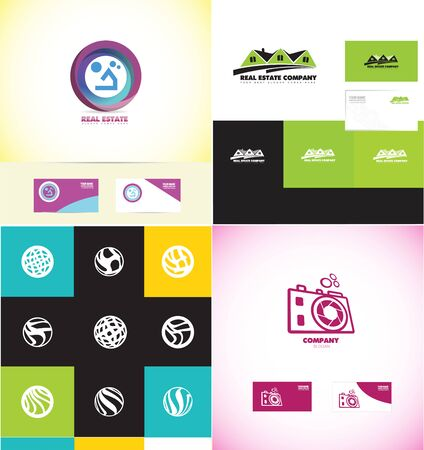 residential home: company logo icon element template house real estate home villa residential circle camera photography