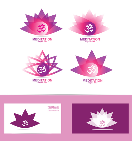 aum: icon element template lotus flower aum om symbol