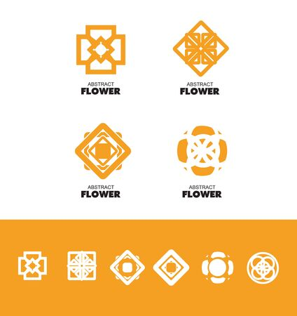lineart: icon element template abstract orange flower pattern geometric line lineart