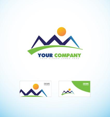 sports gear: company logo icon element template mountain contour shape for tourism tourist agency sports gear