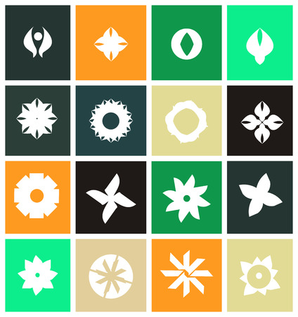 patter: icon element template simple abstract flower shape white floral patter Illustration