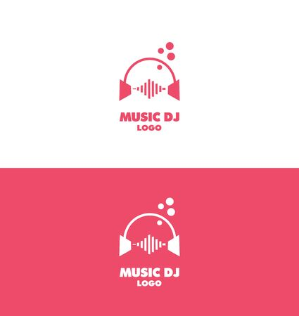 producer: company logo icon element template music dj headphones volume sound recording producer studio pink audio Illustration