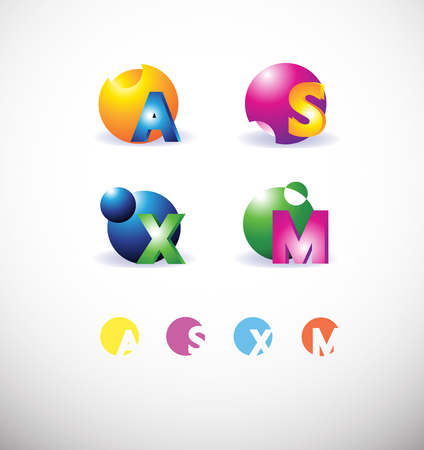 s and m: icon element template colors letter a s m x sphere 3d