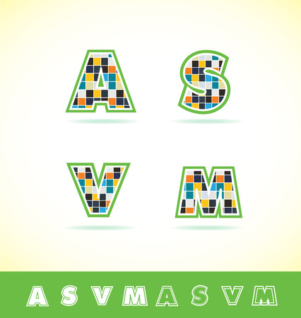 s m: icon element template alphabet tiles square letter a s v m abstract Illustration