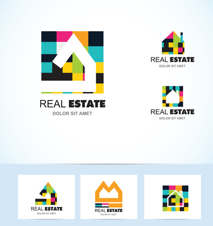housing estate: icon element template real estate house tiles colors home roof house housing  realty property residential