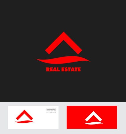 housing estate: icon element template real estate realty house housing red